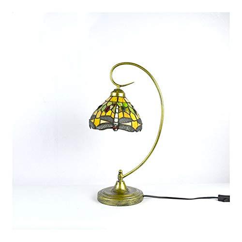Lámpara de bronce Acabado brazo doblado tabla con estilo libélula Forma de cristal de Tiffany bajo sombra