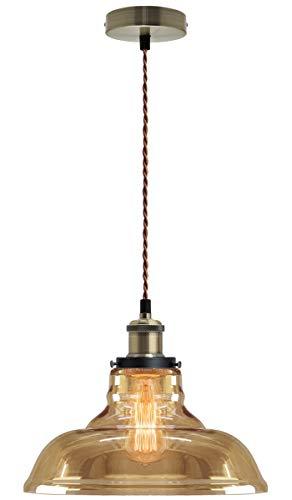 Modern Vintage Industrial Glass Bowl Pendant Light Shade Smoked Antique Brass Retro Loft Iconic M0-83-F