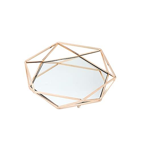 Y-POWER Bandeja de maquillaje de metal con espejo de cristal adornado bandeja organizador de joyas para cosméticos placa de perfume decoración del hogar