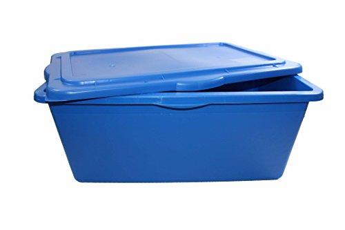 éS Profi-Box 90 l Aufbewahrungsbox, Materialbox hochfester Kunststoff - stapelbar mit Deckelblau