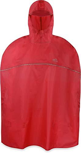 normani Outdoor Sports Kinder Regenponcho für Jungen und Mädchen mit Kapuze und 3M™ Scotchlite™ Reflektoren Farbe Rot