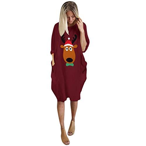 MRULIC Loses Kleid Freizeitkleid Herbst Festlich Langarm Partykleid Knielang Gedruckt Kleid Damen Für Weihnachten Große Größen Frauenkleid S-5XL