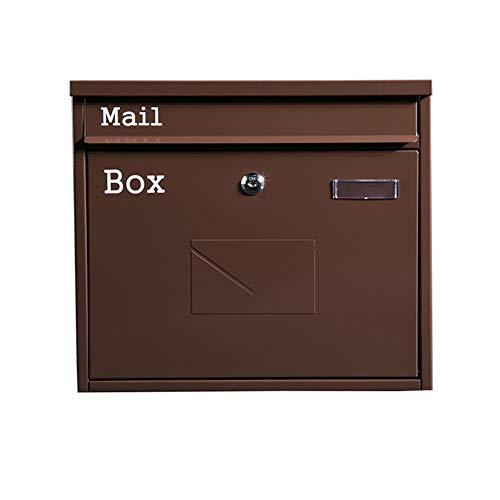 Muur gemonteerde brievenbus,Home Office Locking Drop Box – Metalen winddichte en regendichte brievenbus postvak,36×5×32CM BRON
