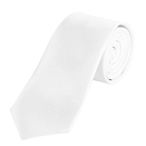 DonDon Herren Krawatte 7 cm klassische handgefertigte Business Krawatte Weiß für Büro oder festliche Veranstaltungen