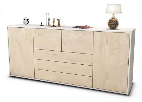 Stil.Zeit Sideboard Eliana/Korpus Weiss matt/Front Holz-Design Zeder (180x79x35cm) Push-to-Open Technik & Leichtlaufschienen
