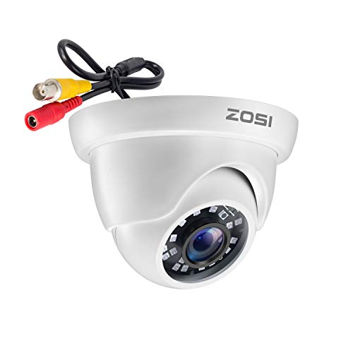 ZOSI 1080P Cámara de Vigilancia Exterior para Kit de Cámara Seguridad, 20M Visión Nocturna, Blanca, con Botón OSD