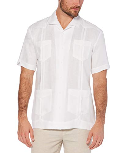 Cubavera Men's Short Sleeve 100% Linen Guayabera, Bright White, Large