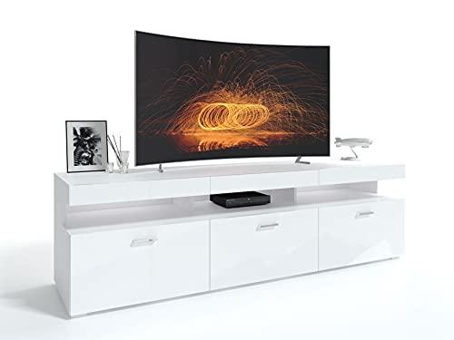 Vancouver Lowboard TV-Schrank Weiß Hochglanz HG Fernsehschrank TV- Bank Sideboard Lowboard Wohnwand Wohnzimme