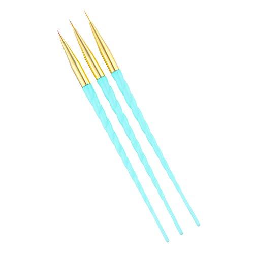 MERIGLARE 3 Pcs Nail Art Peinture Dessin Manucure Polissage Photothérapie Stylo Brosses - Bleu, comme décrit