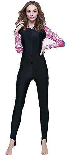 ADELINA Dames Lange Mouw Hooded met Wetsuit Badpak Snorkeling Surf Zee Modieuze Vrouwen Badpak Mode Strand Badpak