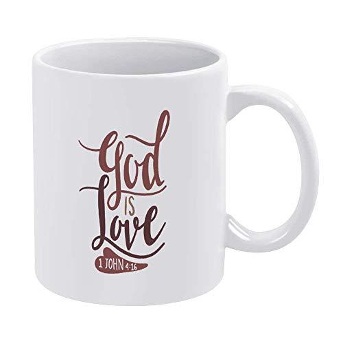 God Is Love Bible Taza de café, cristiano, fe, versículo Taza de cerámica de 11 oz Taza de bebida de té para el hogar y la oficina, cumpleaños, aniversario, Halloween, Navidad, día de San Valentín, id
