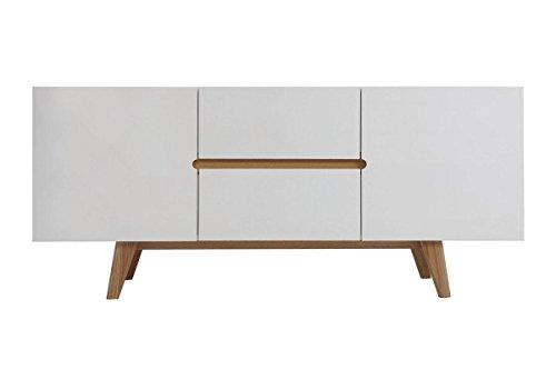 CAGUSTO Linsell Sideboard Kommode weiß matt Eiche massiv MDF mit Zwei Schubladen im danisch, modern, mid Century Design