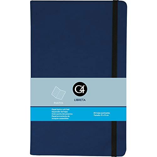 Libreta Skin Dots. Cuaderno clásico de puntos con pasta dura. 80 hojas punteadas. MARCA REGISTRADA G4. Color Azul Obscuro