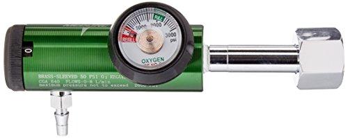 Medline Best Valued Mini Oxygen Regulator, 0-8LPM, 540 CGA Connector, Brass Sleeve