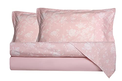 Completo letto lenzuola in 100% puro cotone percalle Made in Italy MATRIMONIALE FIORELLINI ROSA