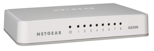 Netgear GS208 8-Port Gigabit Ethernet LAN Switch (Netzwerk-Switch für Desktop, Plug-and-Play, lüfterlos)
