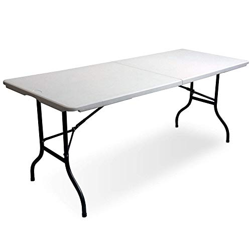 6ft Multi-Purpose Folding Trestle Table Indoor & Outdoor Portable Table for Camping, Garden, Picnics, Patios, Parties, Buffets, BBQ