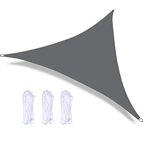 QWESHTU Toldo Vela Impermeable, Vela de Sombra, Vela de Sombra triángulo, protección Rayos UV, Toldo Resistente e Lmpermeable, para Patio, Exteriores, Jardín