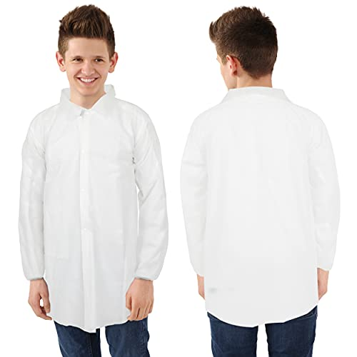 Disposable Lab Coats for Kids, 12 Pack - Lab Coats for Kids Science Party (Youth Medium)