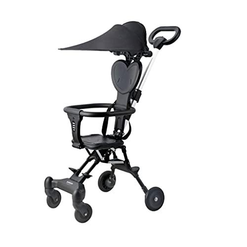 xiaoli Sillas de Paseo Cochecito Asiento Reversible, con una Mano Plegable de Almacenamiento Adicional Cuatro Caminatas Plegables para bebés Plegables de Cuatro vías Cochecito de bebé (Color : Black)