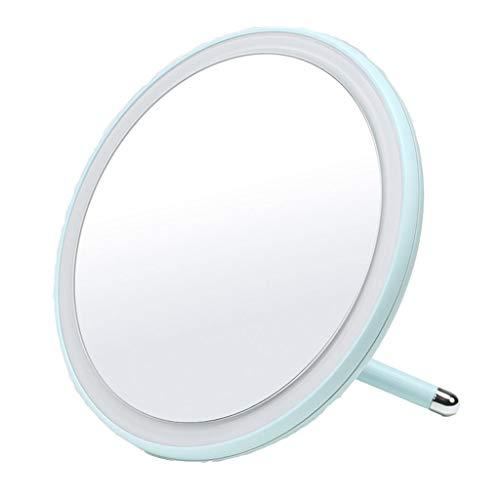 Miroir de maquillage LHY à LED Mirroir de beauté Rond Portable Princesse Lumineuse La Mode (Color : Blue)