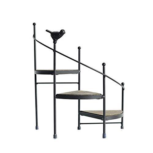 Soporte de plantas soportes de maceta de maceta perchero de hierro forjado, escalera de caracol balcón de madera Pasos de la planta de la planta Pantalla de exhibición Home Jardín Decoración para sala
