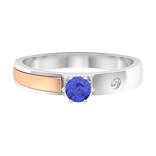 Rosec Jewels 14 quilates oro blanco redonda round-brilliant-shape H-I Blue Diamond Tanzanite
