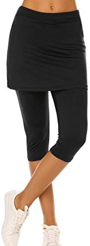 Ekouaer Womens Skirted Capris Leggings Sun Protective Skorts Sports Gym Workout Black product image
