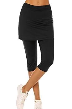 Ekouaer Capri Skorts Active Tight Pants Running Skirted Leggings Athletic Shorts Black