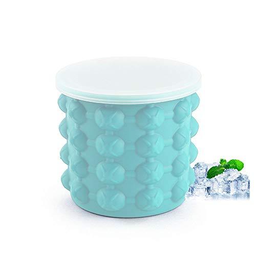 YUEMING Eiskübel,Eiswürfelformen Eiseimer mit Deckel, 2 In1 PlatzsparendeIce Eiseimer, Cube Maker für Whiskey, Cocktail und Jedes Getränk BBQ, Eiswürfelbehälter