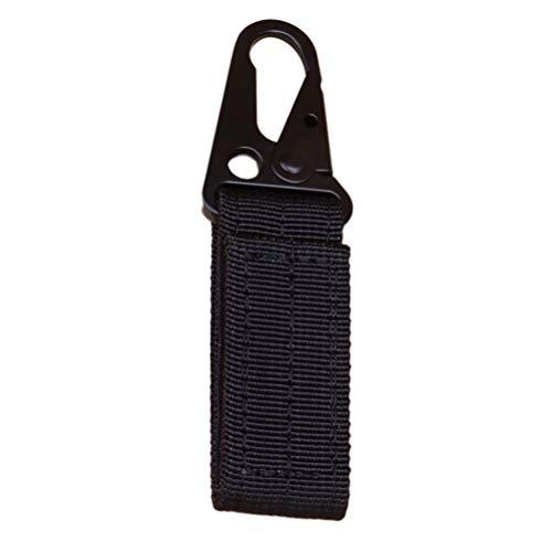 Clispeed Ceinture tactique extérieure en nylon avec boucle pendante ceinture militaire multifonction crochet aigle (noir)