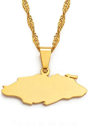 TYWZH Collar Pequeño Bahamas Nassau Mapa Collares Colgantes para Mujeres Niñas Joyería Color Dorado 60Cm con Cadena N