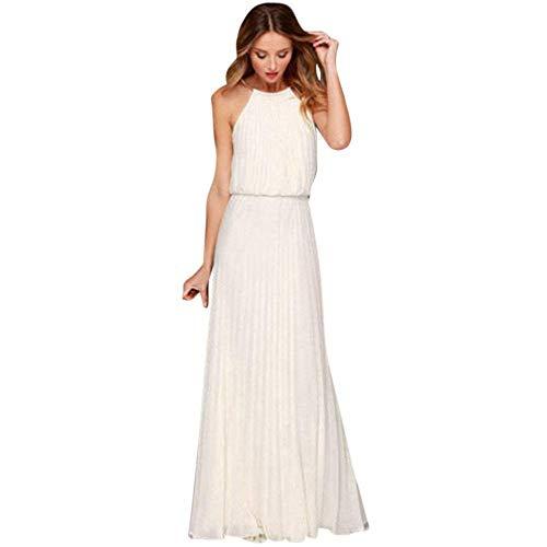 Vestito Donna Elegante Cerimonia Chiffon Prom Serata Lungo Abito Senza Maniche Spiaggia Sera Maxi...