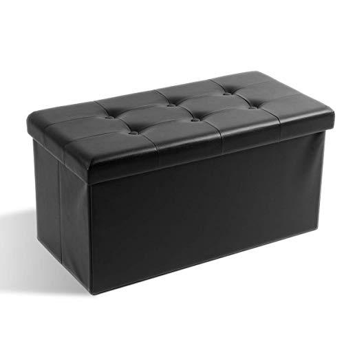 Theo&Cleo Leder Sitzhocker mit Stauraum 76 x 38 x 38 cm Faltbar Fußbank Truhen Aufbewahrungsbox(Schwarz)