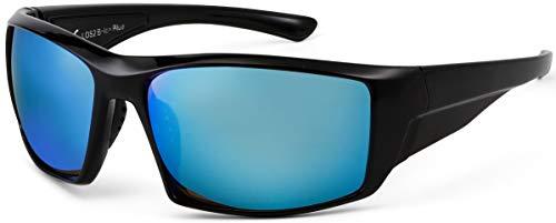 La Optica B.L.M. UV400 CAT 3 Unisex Damen Herren Sonnenbrille Sportbrille Fahrradbrille Golf - Schwarz (Gläser: Türkis Hellblau Verspiegelt)