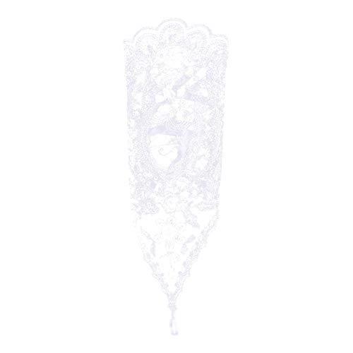 Brauthandschuhe Spitzenhandschuhe Hochzeit Braut Hochzeitshandschuhe Brautkleid Spitze Fingerlose Handschuhe mit Spitze Blumen für Hochzeitsfest ( Farbe : Weiß ) - 3