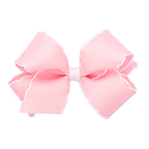 Wee Ones Baby Girls' Medium Classic Grosgrain Moonstitch Hair Bow on a WeeStay Clip - Light Pink w/White Stitching