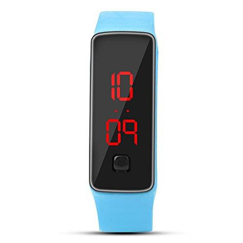 DAUERHAFT LED-Uhr Sport Silikonarmband, Digitale 12-Stunden-Zifferblatt elektronische Anzeige Armbanduhr, Rechteck