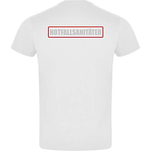 Notfallsanitäter Herren Men's T-Shirt Licht-reflektierende Folie Aufdruck L23 Weiß White (M)