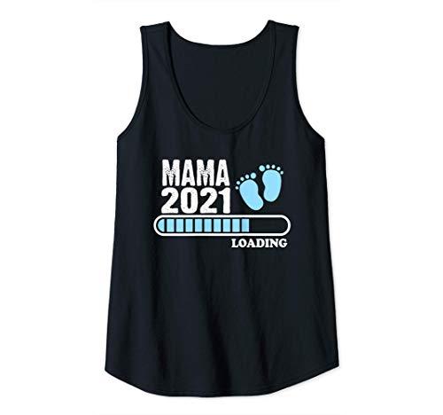 Mujer Mama 2021 loading Idea de Regalo Futura Madre Embarazo Camiseta sin Mangas