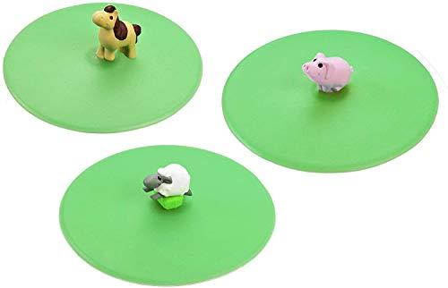 Lurch 210194 Mein Deckel Hoftiere 3er Set (Schwein, Pony, Schaf), Glasabdeckungen aus 100% BPA-freiem Platin Silikon, Ø 10,5cm