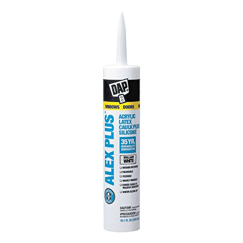 Dap 18101 ALEX PLUS Acrylic Latex Caulk Plus Silicone - White 10.1-oz Cartridge (18152)
