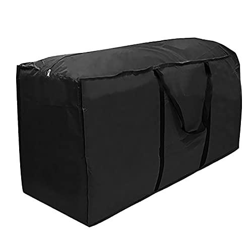 GJCrafts Bolsa de Almacenamiento Grande con Cremallera,Funda de Tela Oxford de Viaje para Acampar de Transporte Ligera,Impermeable CojíN Bolsa con Asas Resistentes para áRbol Navidad (Negro)