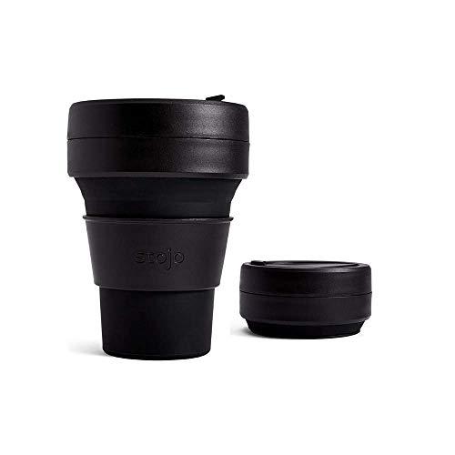Stojo On The Go Kaffeetasse   Taschengröße, zusammenklappbarer Silikon-Reisebecher - Tinte schwarz, 355 ml   kein Strohhalm im Lieferumfang enthalten