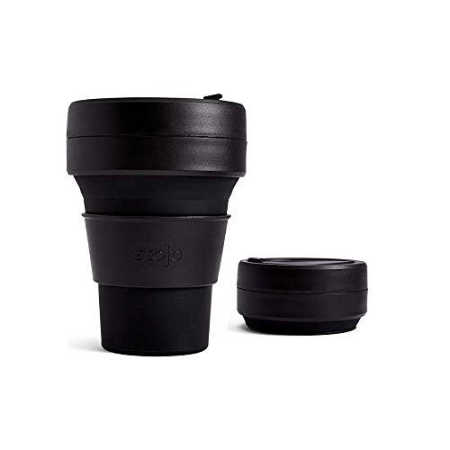 Stojo On The Go Coffee Cup | Pocket Size Collapsible Silicone Travel Cup- Ink Black , 12oz / 355ml | No Straw Included