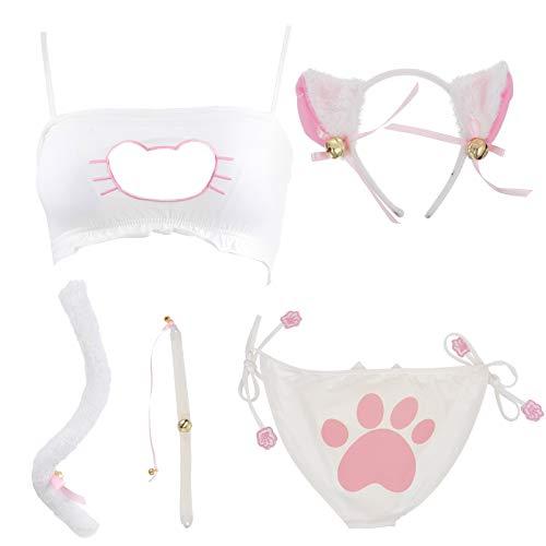EXCEART Sexy Katze Dessous Set Kätzchen BH Unterwäsche Stirnband Katze Schwanz Flirten Spielzeug Sexy Kostüm Nachtwäsche Größe L