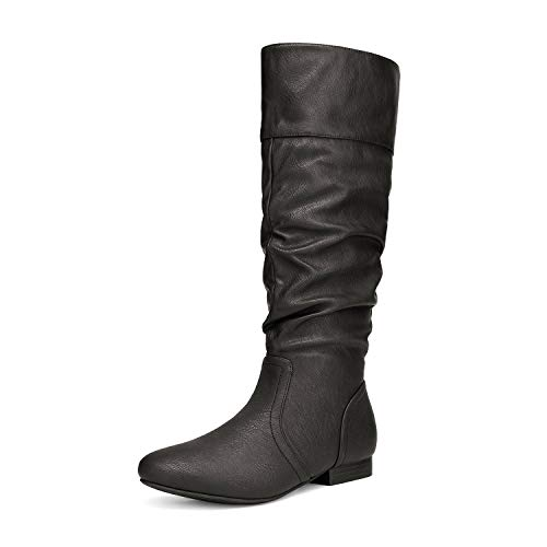 DREAM PAIRS Women's BLVD Black Pu Knee High Pull On Fall Weather Boots Size 5.5 M US