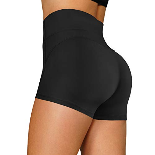 RACELO Yoga Shorts for Women High Waist Tummy Control Workout Running Biker Hiking Athletic Stretch Exercise Shorts (Black, L)