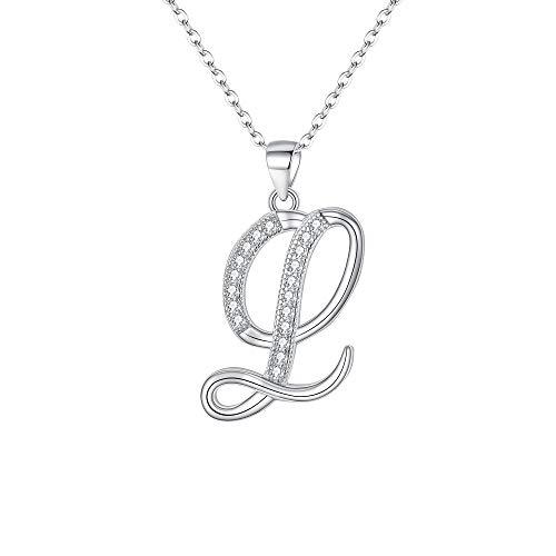 Collana Argento 925,EVER FAITH zirconia Collana Lettera L Collana con Pendente regolabile Regalo Personalizzato per lei