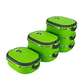 Lonchera térmica de 2 niveles Bento Box Recipientes de fiambrera de gran capacidad aislados apilables de acero inoxidable para viajes Oficina Escuela Verde